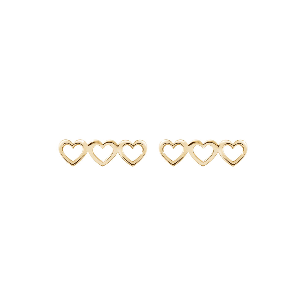 A Triple Heart Charm In Yellow Gold