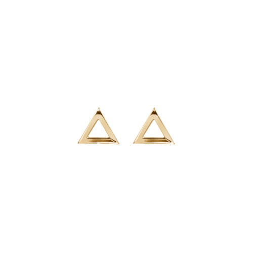 Dainty Triangle Stud Earrings In Yellow Gold
