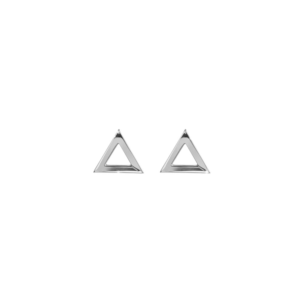 Dainty Triangle Stud Earrings In White Gold