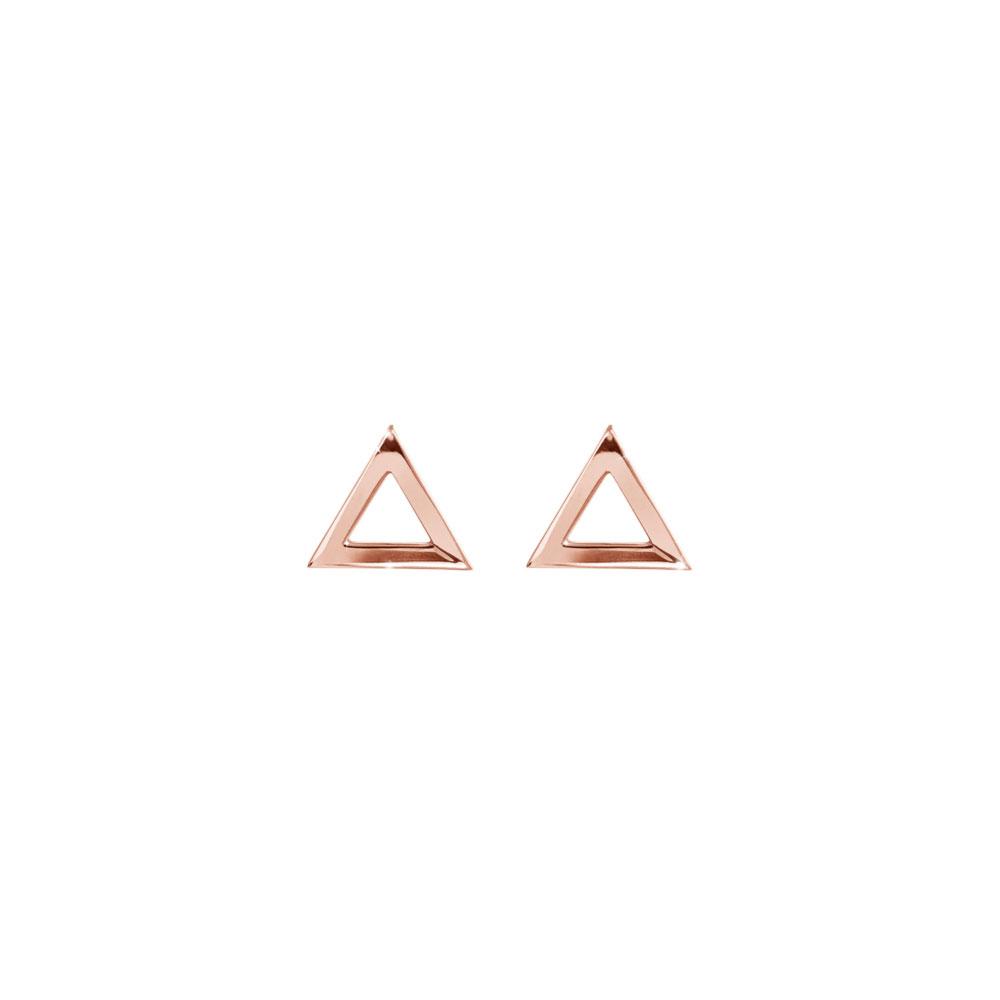 Dainty Triangle Stud Earrings In Rose Gold