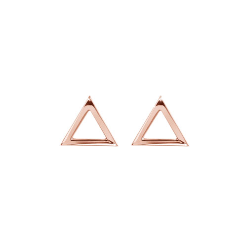 Dainty Triangle Stud Earrings made of Rose Gold