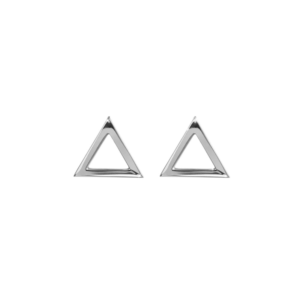 Dainty Triangle Stud Earrings made of White Gold