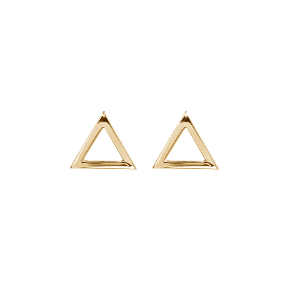 Dainty Triangle Stud Earrings made of Yellow Gold