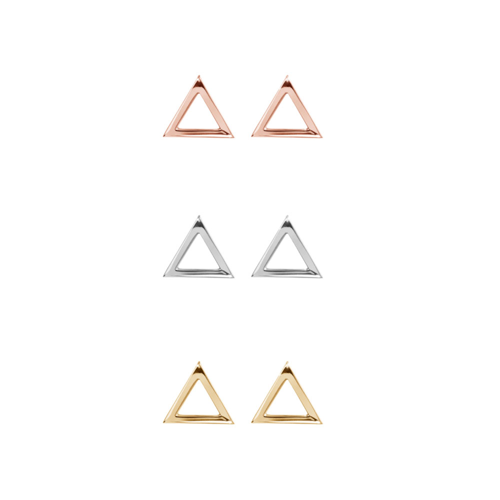 All Three Options Of The Dainty Triangle Stud Earrings made of Solid Gold