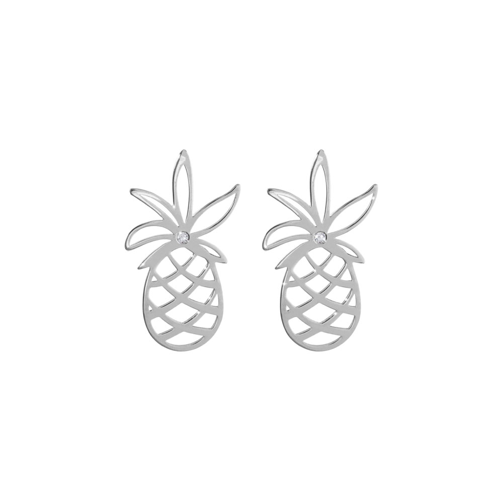 Dainty Pineapple with a Tiny White Diamond Stud Earrings In White Gold