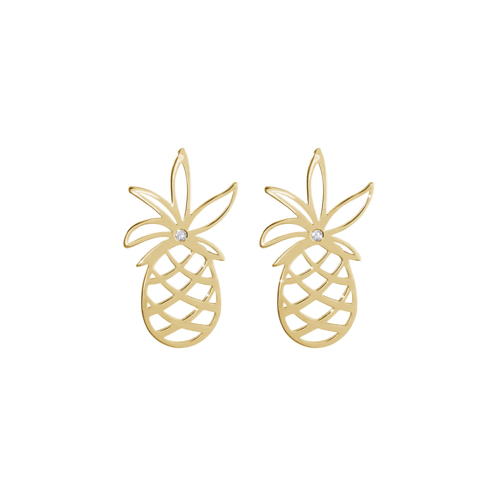 Dainty Pineapple with a Tiny White Diamond Stud Earrings In Yellow Gold