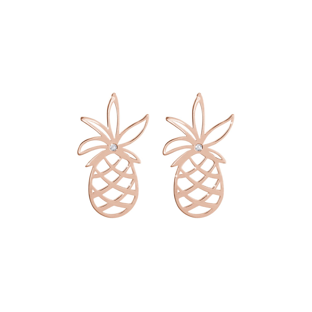 Dainty Pineapple with a Tiny White Diamond Stud Earrings In Rose Gold