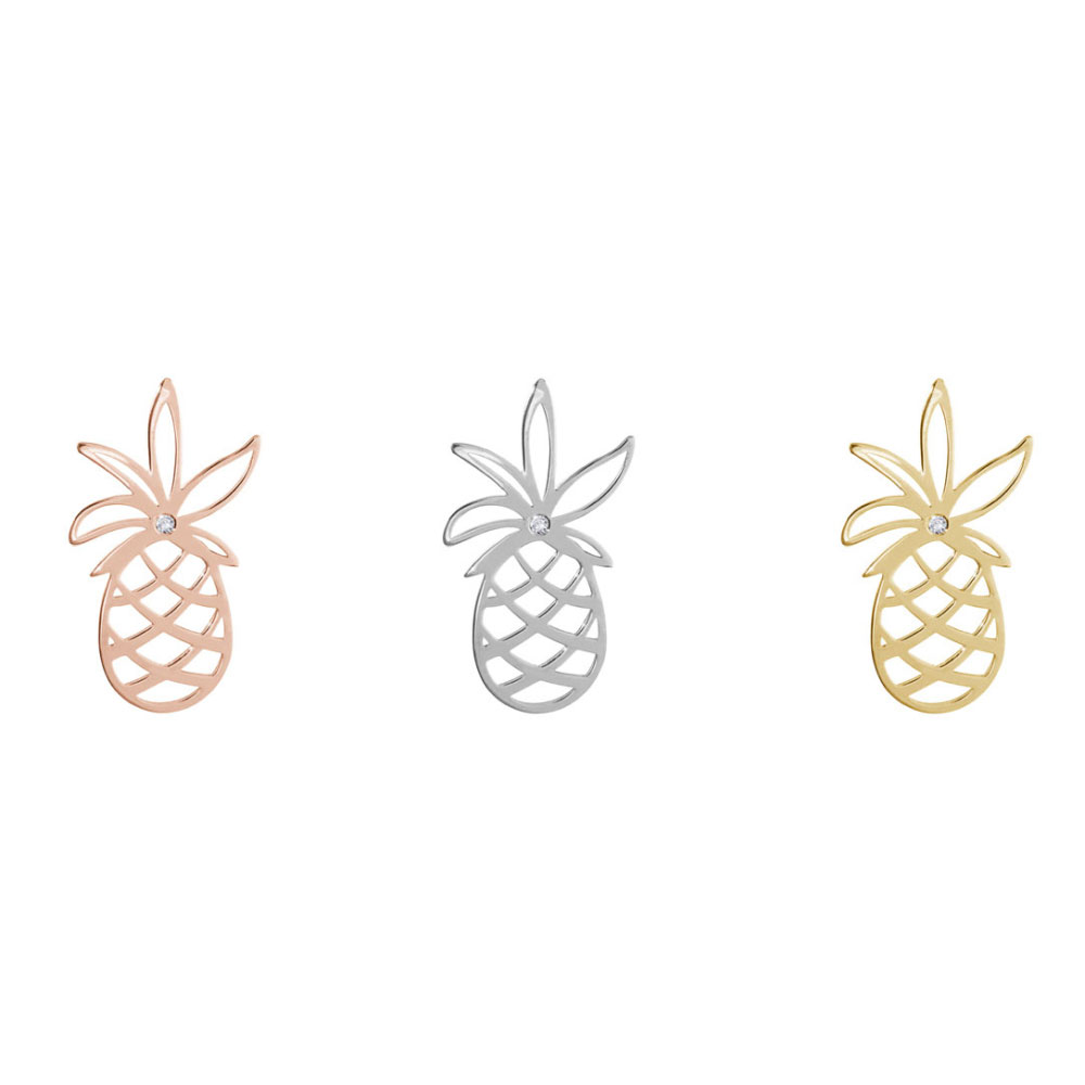 All Three Options Of The Dainty Pineapple with a Tiny White Diamond, Gold Stud Earrings