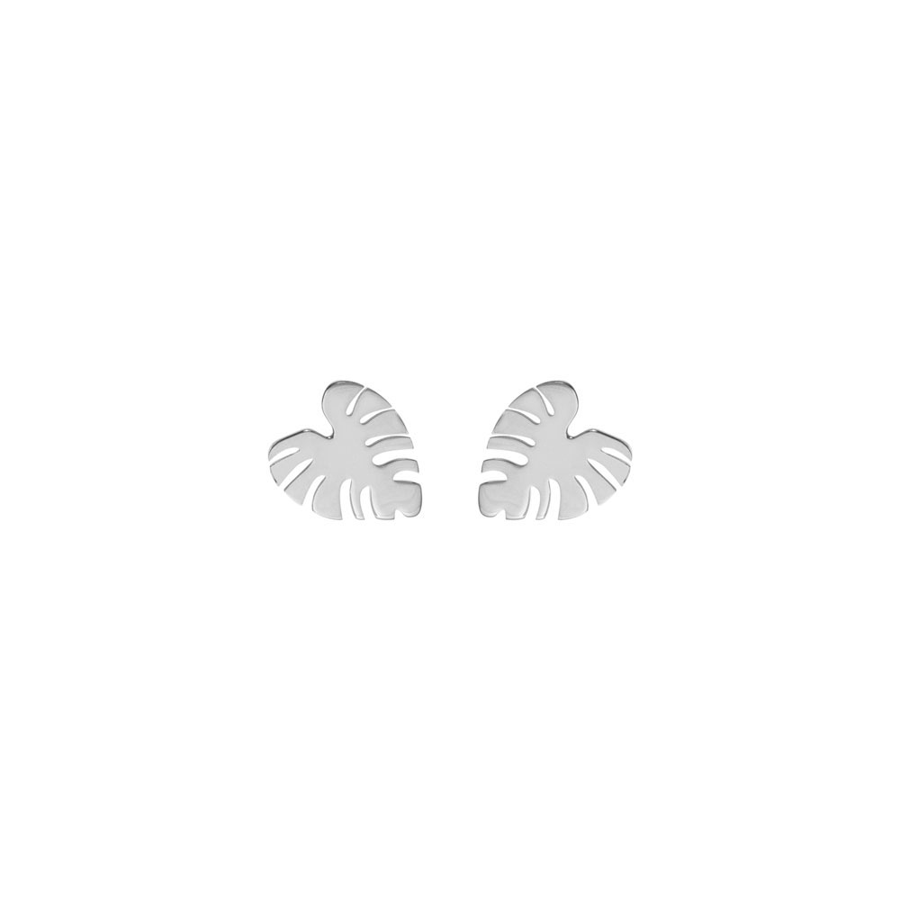 Tropical Monstera Leaf Studs In White Gold