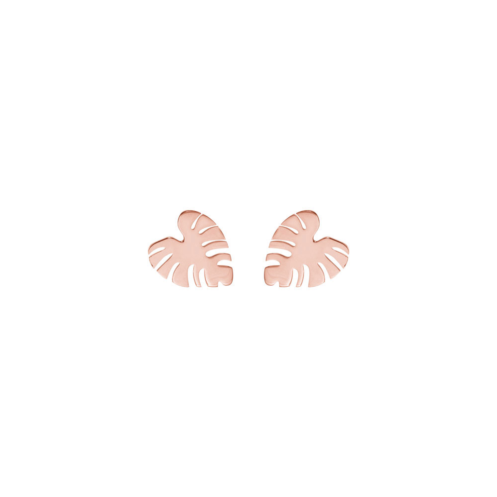 Tropical Monstera Leaf Studs In Rose Gold