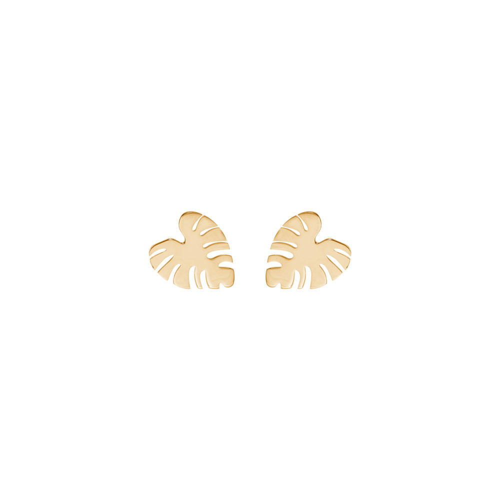 Tropical Monstera Leaf Studs In Yellow Gold