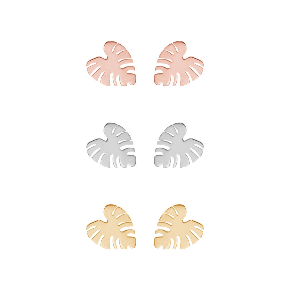 All Three Options Of The Tropical Monstera Leaf Gold Studs
