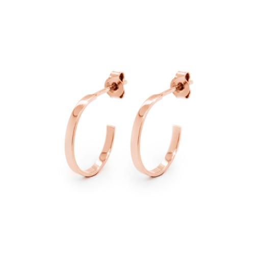 Tiny Flat Circle Hoop Earrings in Rose Gold